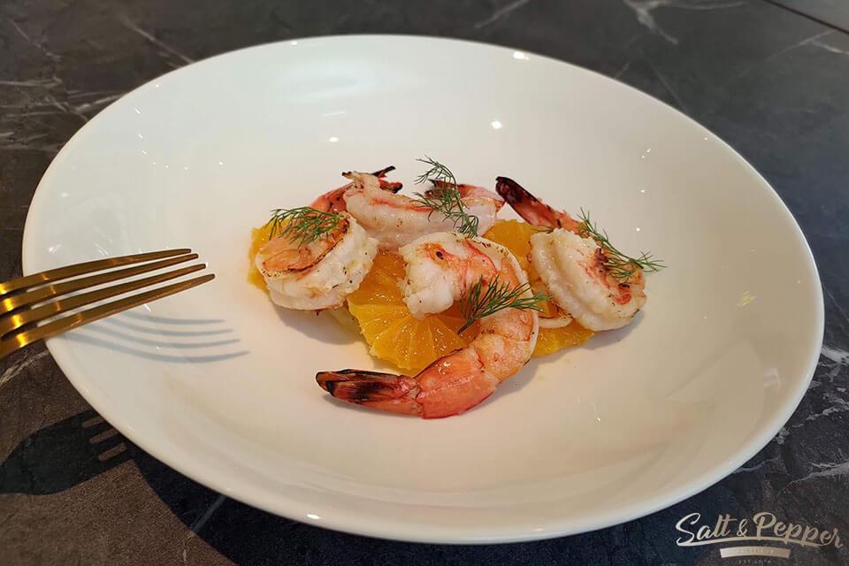 鹽與胡椒餐館-碳烤海蝦茴香柑橘沙拉