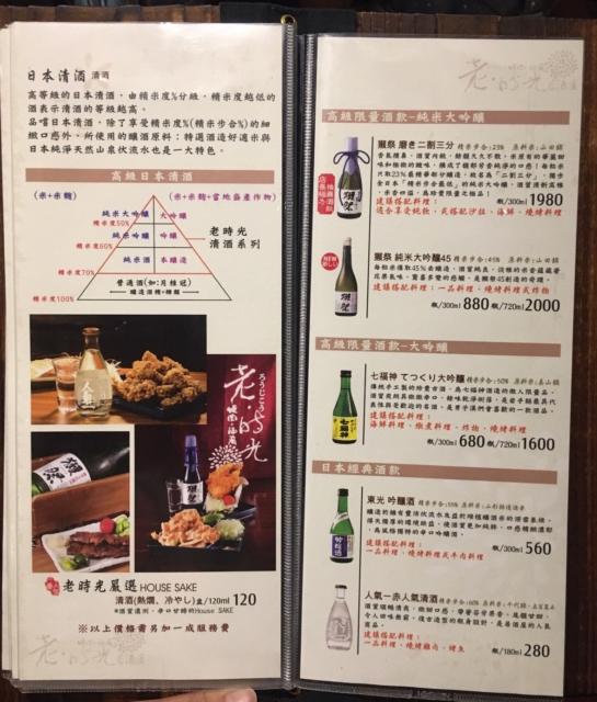 老時光燒肉酒肴菜單