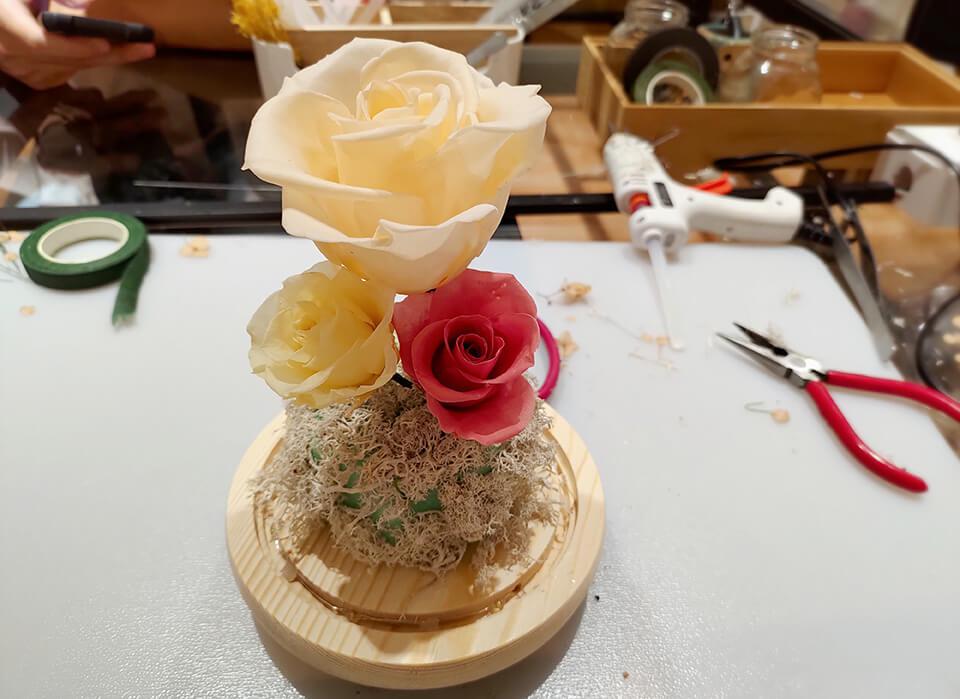 台中乾燥花課程-插上玫瑰主花
