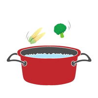 將玉米筍和花椰菜清燙約2分鐘,撈起備用。