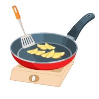 馬鈴薯切塊後,先用熱水燙5分鐘,讓他呈現半熟狀態,再撈起來加入平底鍋中,以半煎炸的方式讓表面呈現金黃色。