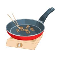 鴻喜菇下鍋,以中火乾煎5-10分鐘,表層變金黃色且略為出水就可起鍋。
